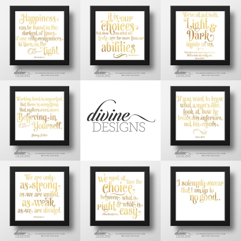 image relating to Harry Potter Printable known as Harry Potter Printable Deal - 8 Printables! For the Supreme Harry Potter Supporter - Phony Gold Foil - Sq. Structure - Quick Down load