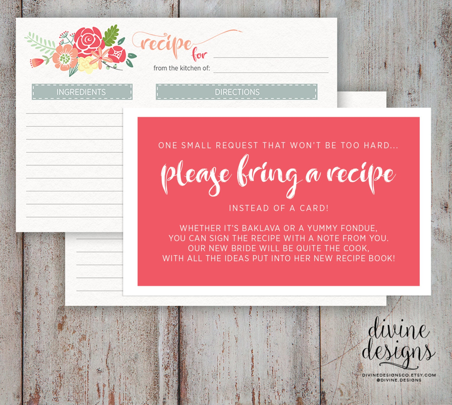 Recipe Card Bridal Shower Please Bring a Recipe Cute | Etsy