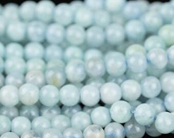 Natural Aquamarine Beads, Small Gemstone Beads, 4mm Aquamarine Beads, Pale Blue Gemstone, Small Round Blue Stone Beads - 45 beads (ST-86)