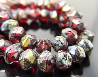 Small Red Picasso English Cut Beads, English Cut Czech Glass Beads, Dark Red Glass Rough Cut Beads, 7mm - 15 beads (ENG-24)
