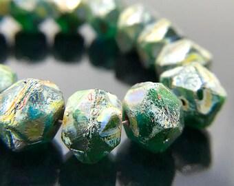 Green Picasso Glass English Cut Beads, Green Czech Glass Rough Cut Beads, Chunky Green Glass Beads, 9x10mm - 15 beads (ENG-21)