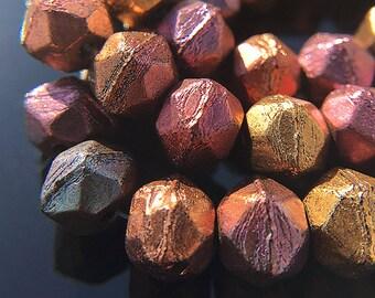 Metallic Color Mix English Cut Beads, Czech Glass Rough Cut Beads, Small English Cut Beads in Assorted Colors, 7mm - 15 beads (ENG-15)