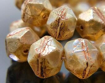 Champagne Glass English Cut Beads, Beige Czech Glass Rough Cut Beads, Champagne Picasso Glass Beads,  9x10mm - 15 beads (ENG-17)