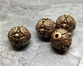Copper Plated Beads with Spiral Motifs, Round Copper Plated Metal Beads, TierraCast Beads, Copper Spirals Beads, 8mm - 4 beads (CH-98)