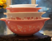 1950 39 s Vintage Pyrex Pink Gooseberry 4pc. Cinderella Bowl Set