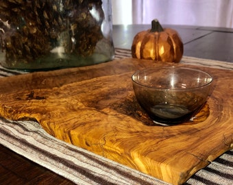 Handmade Olive charcuterie or serving board with included glass dish -one of a kind