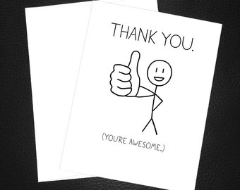 simple thank you card thank you youre awesome black and white thank you gift thank you card simple thank you note cards