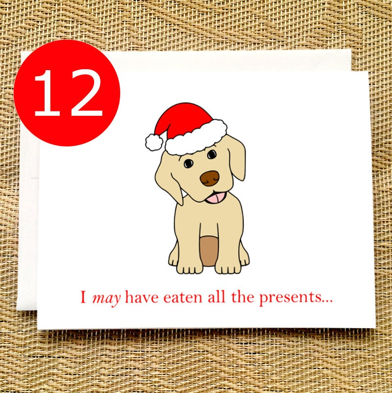 CLEARANCE SALE Funny Christmas Cards Boxed Set Puppy