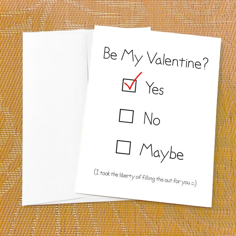 funny valentines day card for boyfriend yes no maybe etsy