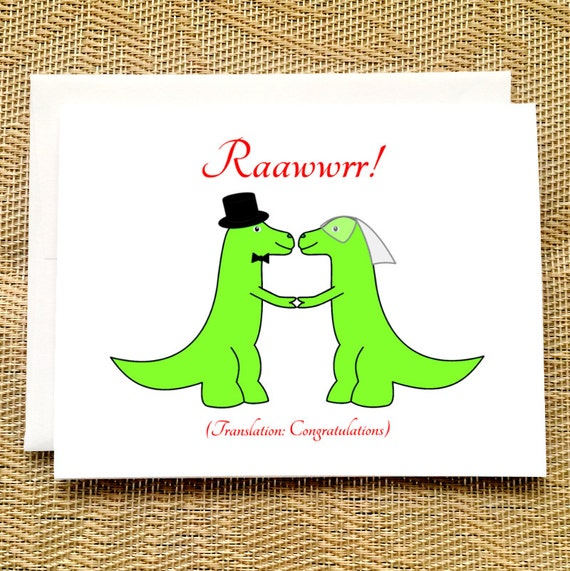 Lustige Hochzeit Karte Trex Hochzeit Dinosaurier Karte Etsy