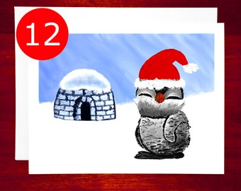 SALE Holiday Card Set Penguin Cute Christmas Card Set Christmas Greeting Cards Holiday Card Boxed Set Boxed Christmas Cards Boxed Set