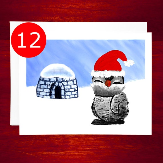 Sale holiday card set penguin cute christmas card set etsy image 0 m4hsunfo