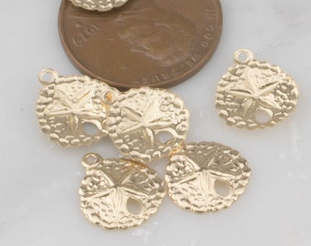 Gold Filled Sand Dollar Sanddollar Charm- 14/20 Gold Filled- USA Product-10mm- 4 pieces per order