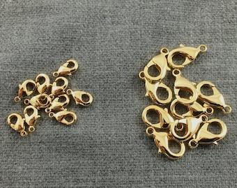 GOLD FILLED LOBSTER Clasps 5*10mm/7*12mm / 8*14mm... 18K Gold  Lobsters Closures Hooks