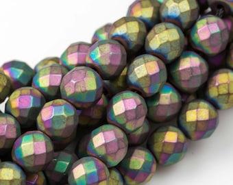 Matt Multi Metallic Hematite Faceted Round 2mm, 3mm, 4mm, 6mm, 8mm