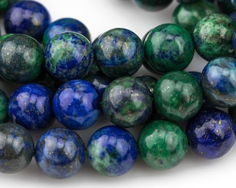 Natural Chrysocolla , High Quality in  Round- 6mm, 8mm, 10mm, 12mm, 14mm- Full 16 Inch strand AAA Quality  Smooth Gemstone Beads
