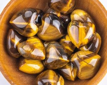 1 Pc Natural Tiger Eye Heart Shaped Healing Stones Gemstone Hearts Healing Stones-15mm- .5 inches