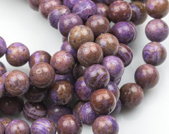 Gorgeous Purple Flower Agate, High Quality in Smooth Round- 4mm, 6mm, 8mm, 10mm, 12mm 14mm   -Full Strand 15.5 inch Strand