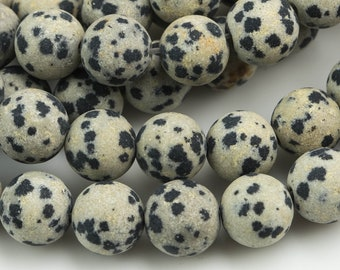 Natural Dalmatian Jasper, High Quality in Matte Round, 4mm, 6mm, 8mm, 10mm, 12mm- Full 16 inch Strand AAA Quality Gemstone Beads