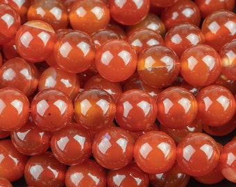 Carnelian Beads High Quality Smooth Round 6mm, 8mm, 10mm, 12mm, 14mm- Full Strand 15.5 Inches Long AAA Quality Smooth