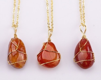 Carnelian Necklace Pendant Handwrapped in USA Healing Crystal Chakra Stone Carnelian Necklace Carnelian Jewelry Pre-charged