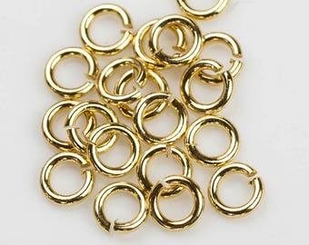 18k Gold Filled Jump Rings 6mm or 8mm. Carbon Steel - VERY STURDY. 18 karat gold-filled.