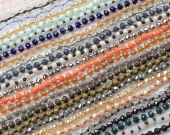 NEW COLORS SALE!!! Single Wrap Layering Skinny Hand-Knotted Necklaces! 4mm very cute! About 34-36 inches long (Selection B)