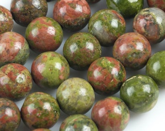 Natural Unakite Unikite Jasper  Round, 4mm, 6mm, 8mm, 10mm, 12mm- Full 15.5 Inch Strand- Wholesale Pricing AAA Quality Smooth