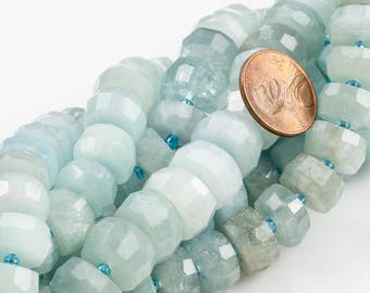 "Aquamarine- Large Faceted Roundel- High Quality- 13-14mmmm- Full Strand 16"" - 44 Pieces"