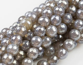 Mystic Gray Agate, Faceted Round sizes 4mm, 6mm, 8mm, 10mm, 12mm- Full 16 inch strand