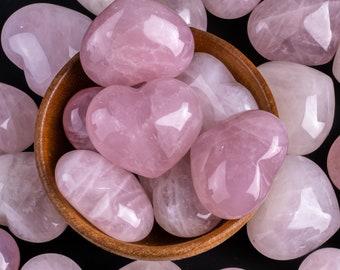 1 Pc Rose Quartz Puffy Heart Shaped Healing Stones Gemstone Hearts Healing Stones