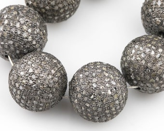 Finding Jewelry Pave Diamond Pendant Diamond Jewelry Diamond Ball Beads 18mm 925 Sterling Silver 1 Pc Pave Diamond Round Ball Beads