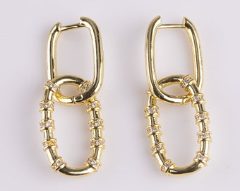 1 pair Rectangle Paperclip Earring 14k Gold Filled Earrings with CZ Cubic Zirconia inlay 12x35mm