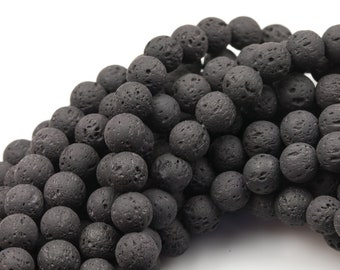 Natural Lava Rocks Round Beads Lava Rock Beads - Can Be Oiled- Wholesale - Full 15.5 Inch Strand 4mm 6mm 8mm 12mm or 14mm -Wholesale Pricing