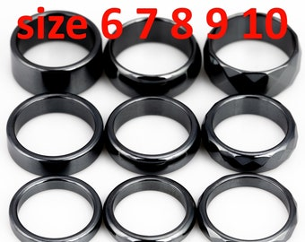 Hematite Ring Hematite Ring Hematite Rings Basic Ring Band Hematite Band Ring Bands Hematite Bands Jewelry Faceted Size 5 6 8 7 9 10 mm01