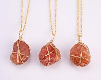 Raw Carnelian Necklace Pendant Handwrapped in USA Healing Crystal Chakra Stone Carnelian Necklace Carnelian Jewelry Pre-charged