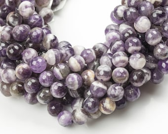Gorgeous Striped Amethyst Beads Faceted - High Quality in Faceted Round 6mm 8mm 10mm or 12mm - Full Strand 15.5 inches