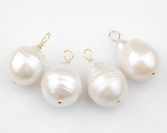 d8fd357f0 Gold Filled Natural Baroque Pearl Charms Drop Pendant Handmade Approx.  12*16mm. Made w Natural Freshwater Baroque Pearl and Gold Filled Wire