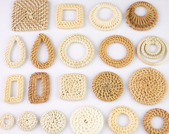 4pcs HANDWOVEN RATTAN Wooden Straw Earring Pieces - Woven by Hand Large Selection!