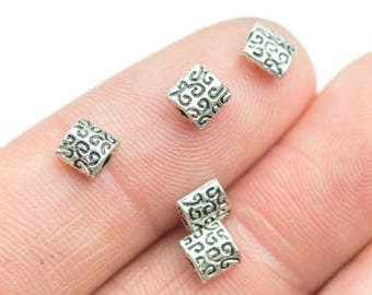 20 Square PEWTER BEADS 6mm- 50