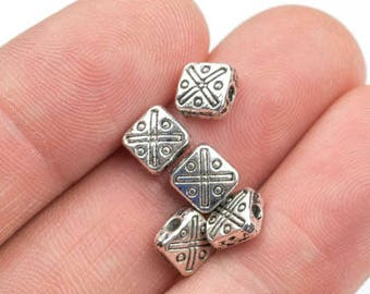33 Square PEWTER BEADS 6mm- 105-10683