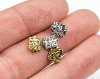 33 Small Square Pewter Spacer Beads 6mm 134-8916