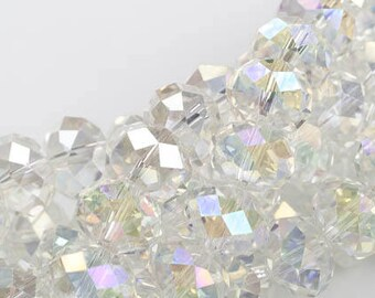 12mm Crystal Rondelle -2 or 5 or 10 STRANDS- Clear AB