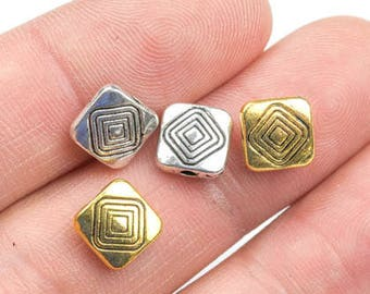 18 Square PEWTER BEADS 8mm- 104-10657