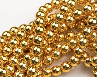 Gold COLOR Hematite Smooth Round- 2mm,3mm,4mm, 6mm, 8mm, 10mm