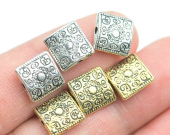 13 Square PEWTER BEADS 12mm- 60-9570