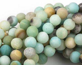 AMAZONITE Beads MATTE/MATT Best Quality Round sizes 4mm, 6mm, 8mm, 10mm, 12mm, 14mm- Full Strand- 15.5 Inches- Matte Finish - Full Strand