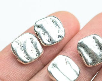 10 Square PEWTER BEADS 12mm- 65-9277