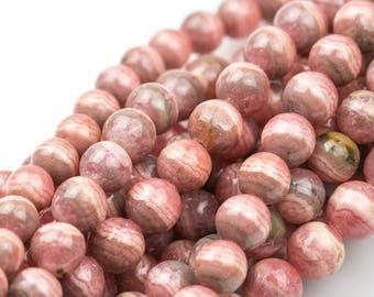 NATURAL Rhodochrosite Smooth round beads in full strands. 4mm, 6mm, 8mm, 10mm, 12mm, 14mm- 8 Inch strand- Natural No Dye
