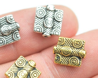 17 Square PEWTER BEADS 8mm- 68-0660